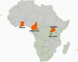 Map of Africa showing DMJ presence